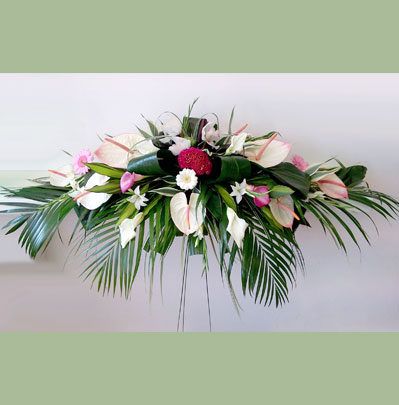 Wedding Florist in Bolton, Long & Low Top Table Arrangement